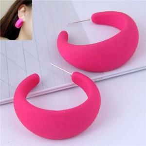 Fluorescent Color Painted Women Wholesale Fashion Earrings - Rose