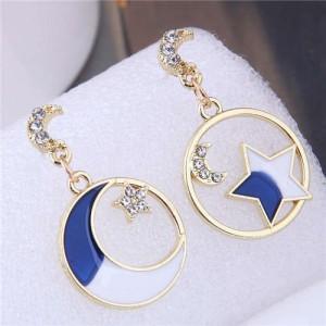 European High Fashion Star and Moon Asymmetric Design Round Hoop Wholesale Earrings