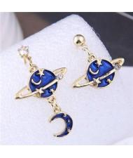 Platnet Design Star and Moon Asymmetric Design U.S. High Fashion Drop Wholesale Earrings