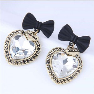Love Heart Vintage Design Black Bowknot Women Wholesale Stud Earrings