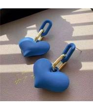 Candy Color Resin Sweet Heart Western Fashion Women Wholesale Stud Earrings - Blue