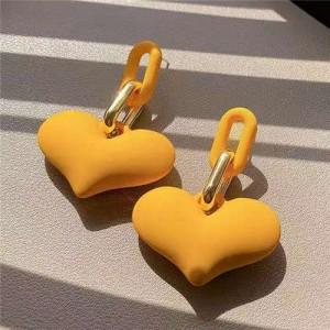 Candy Color Resin Sweet Heart Western Fashion Women Wholesale Stud Earrings - Yellow
