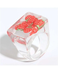 High Fashion Fruit Elements Inlaid Korean Bold Fashion Women Resin Ring - Red