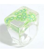 High Fashion Fruit Elements Inlaid Korean Bold Fashion Women Resin Ring - Green