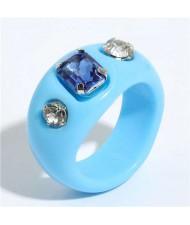 Gems Inlaid Vintage Western Fashion Women Resin Ring - Blue
