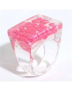 Candy Colors Beads Inlaid Korean Fashion Women Resin Ring - Rose