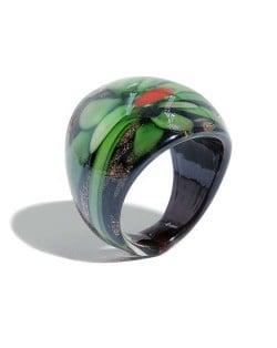 Romantic Flower U.S. High Fashion Design Trendy Glass Women Ring - Green