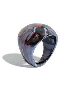 Romantic Flower U.S. High Fashion Design Trendy Glass Women Ring - Black