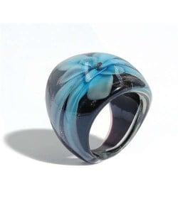 Romantic Flower U.S. High Fashion Design Trendy Glass Women Ring - Light Blue