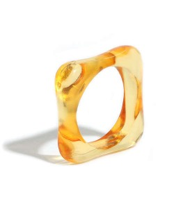 U.S. and European High Fashion Square Design Hip-hop Resin Ring - Orange