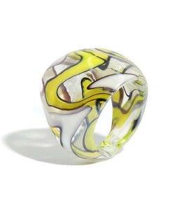 U.S. High Fashion Artistic Design Colord Glaze Style Women Glass Ring - Yellow