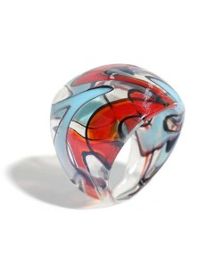 U.S. High Fashion Artistic Design Colord Glaze Style Women Glass Ring - Red