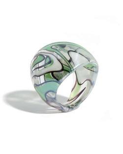 U.S. High Fashion Artistic Design Colord Glaze Style Women Glass Ring - Green