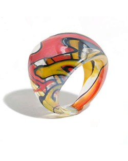 U.S. High Fashion Artistic Design Colord Glaze Style Women Glass Ring - Red and Yellow