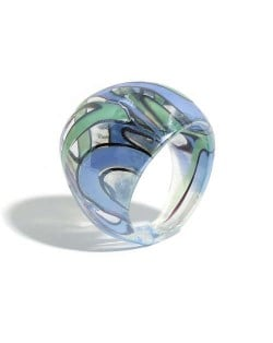 U.S. High Fashion Artistic Design Colord Glaze Style Women Glass Ring - Blue and Green