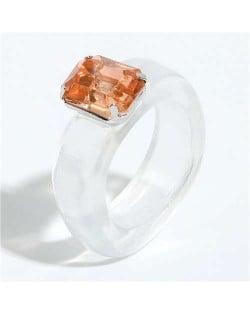 Gem Inlaid Four Claws Design Vintage Fashion Resin Ring - White