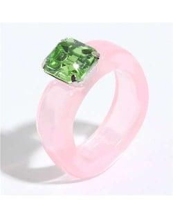 Gem Inlaid Four Claws Design Vintage Fashion Resin Ring - Pink