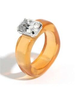 Gem Inlaid Four Claws Design Vintage Fashion Resin Ring - Orange