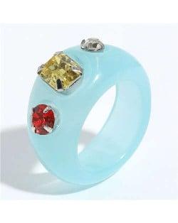 Colorful Gems Embellished Internet Celebrity Choice Vintage Fashion Resin Ring - Blue