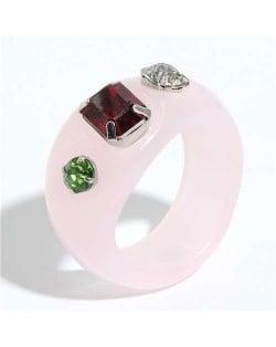 Colorful Gems Embellished Internet Celebrity Choice Vintage Fashion Resin Ring - Pink