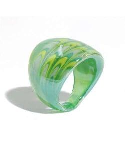 Aesthetic Colorful Design U.S. High Fashion Women Glass Ring - Green