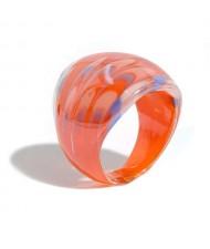 Aesthetic Colorful Design U.S. High Fashion Women Glass Ring - Orange