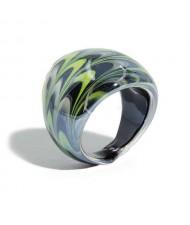 Aesthetic Colorful Design U.S. High Fashion Women Glass Ring - Black