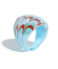 Aesthetic Colorful Design U.S. High Fashion Women Glass Ring - Teal