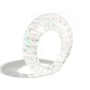 Vintage High Fashion Transparent Women Resin Ring - White