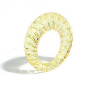 Vintage High Fashion Transparent Women Resin Ring - Yellow