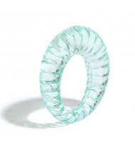 Vintage High Fashion Transparent Women Resin Ring - Teal