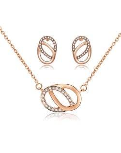Linked Oval Hoops Korean Fashion Women Jewelry Set