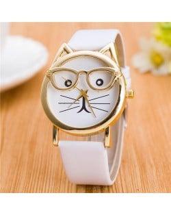 Cute Golden Glasses Cat Fashion Wrist Watch - White