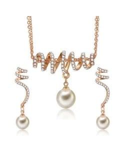 Rhinestone Inlaid Dangling Pearl Fashion Korean Style Jewelry Set
