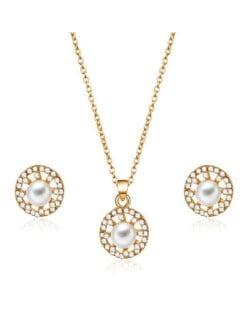 Pearl and Rhinestone Embellished Graceful Korean Fashion Women Alloy Jewelry Set