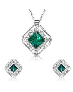Cubic Zirconia Embellished Hollow Square Design Bridal Fashion Women Jewelry Set - Green