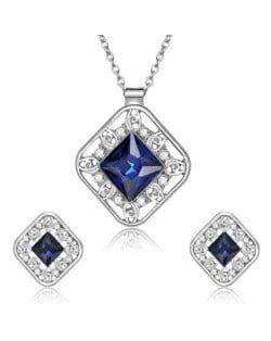 Cubic Zirconia Embellished Hollow Square Design Bridal Fashion Women Jewelry Set - Blue