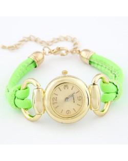 Simple Casual Design Fluorescent Woman Wrist Watch - Grass Green