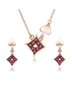 Heart and Diamonds Elements High Fashion Women Alloy Jewelry Set