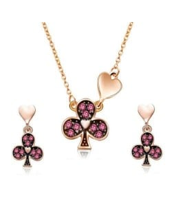 Clubs and Hearts Combo Design High Fashion Women Jewelry Set