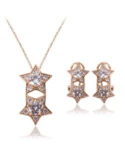 Dual Stars Shining Fashion Women Alloy Jewelry Set