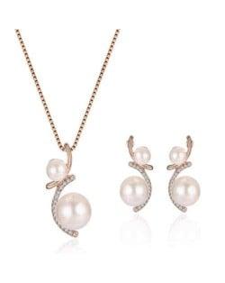 Elegant Pearl Fashion Bridal Style Women Costume Jewelry Set