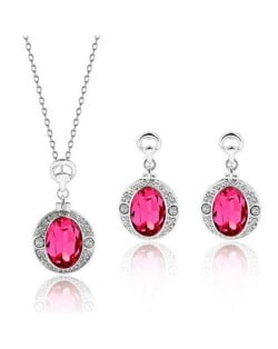Rose Gem Embellished Round Charms High Fashion Women Alloy Jewelry Set