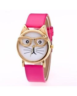 Cute Golden Glasses Cat Fashion Wrist Watch - Rose