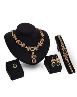 Luxurious Fruits and Leaves Combo Design Banquet Fashion Women Alloy Jewelry Set