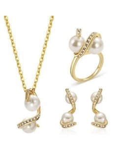 Pearl Inlaid Wedding Fashion Women Alloy Wholesale Jewelry Set