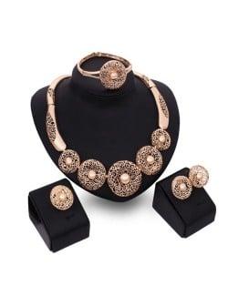 Vintage Coarse Flowers Design U.S. High Fashion Women Wholesale Costume Jewelry Set