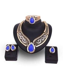 Blue Gems Embellished Western High Fashion Bridal Wholesale Jewelry Set