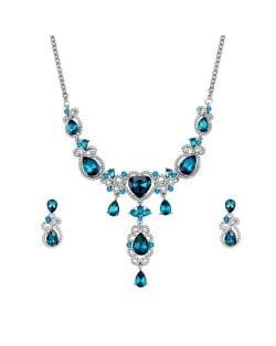 Blue Gems Embellished Unique Design Bridal Wholesale Fashion Jewelry Set