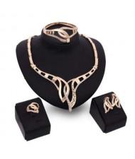 U.S. High Fashion 4pcs Golden Alloy Party Fashion Wholesale Jewelry Set